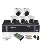 Kit Monitoramento Intelbras com 5 Câmeras de Segurança Dome 1080p