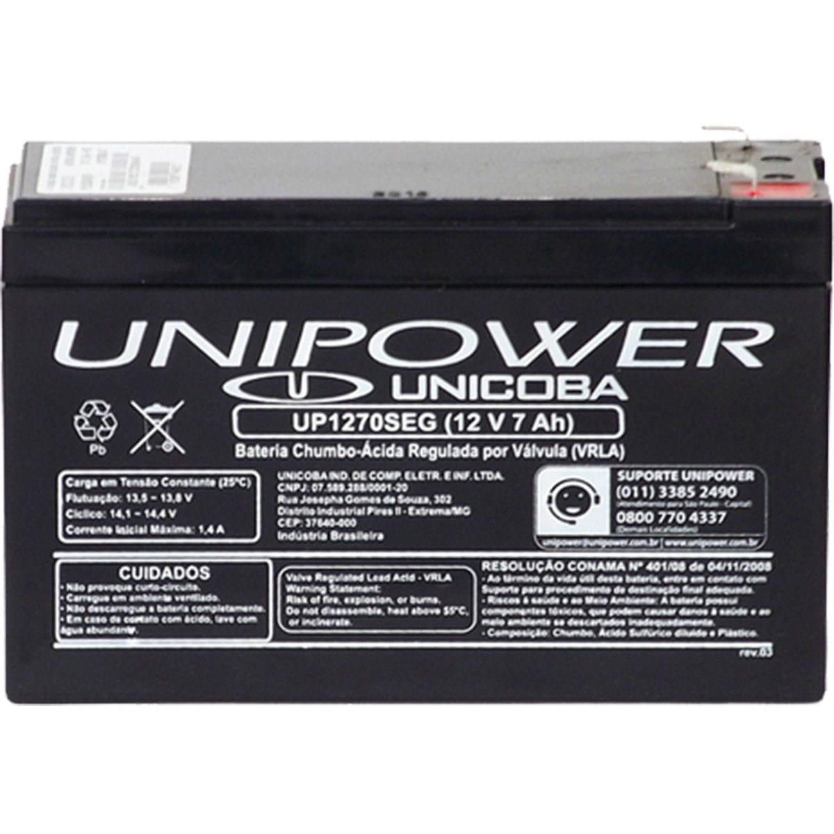 Bateria Selada Estacionária Unipower 12V UP1270SEG