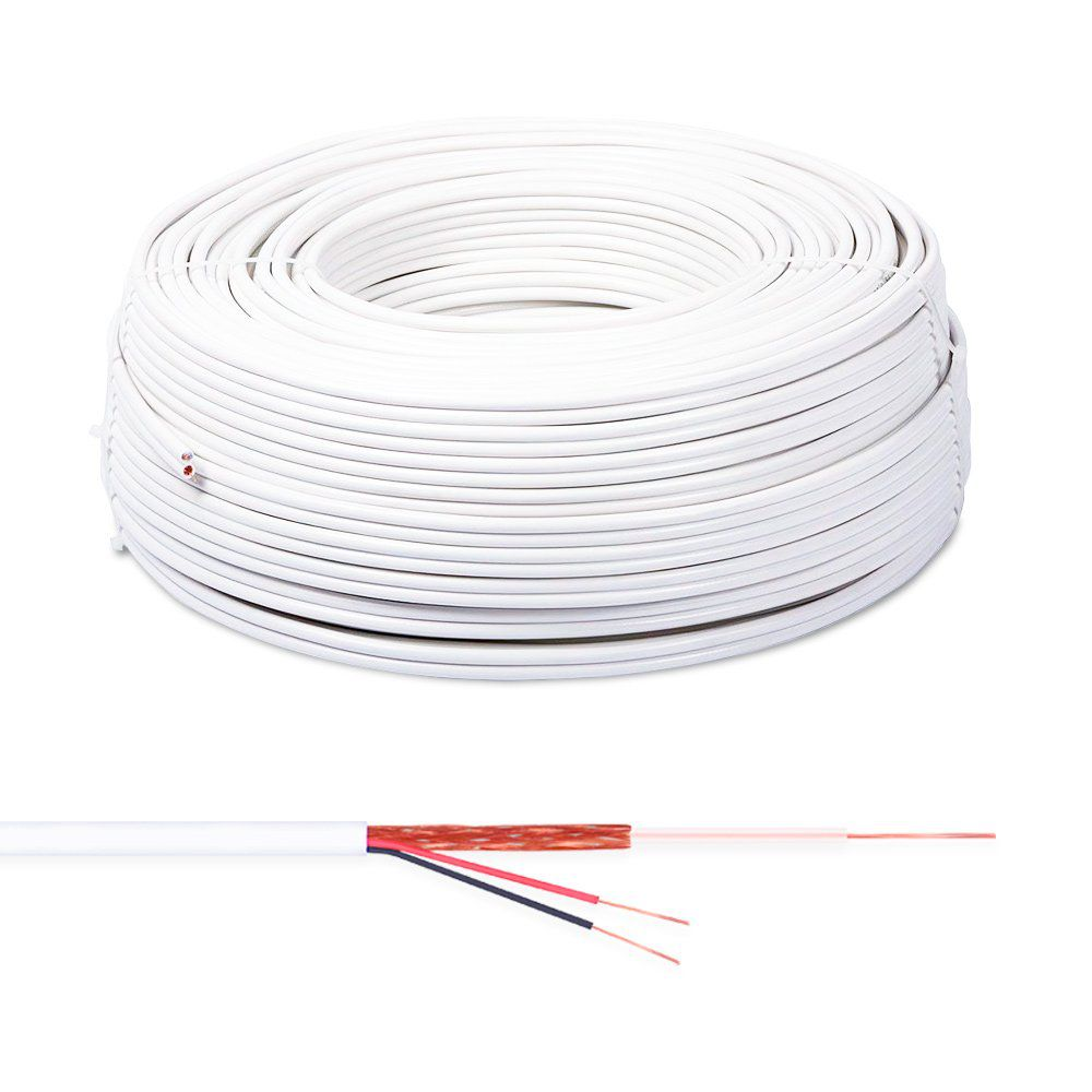 Cabo Coaxial Connect Cable Flexível Bipolar 80% 100 Metros