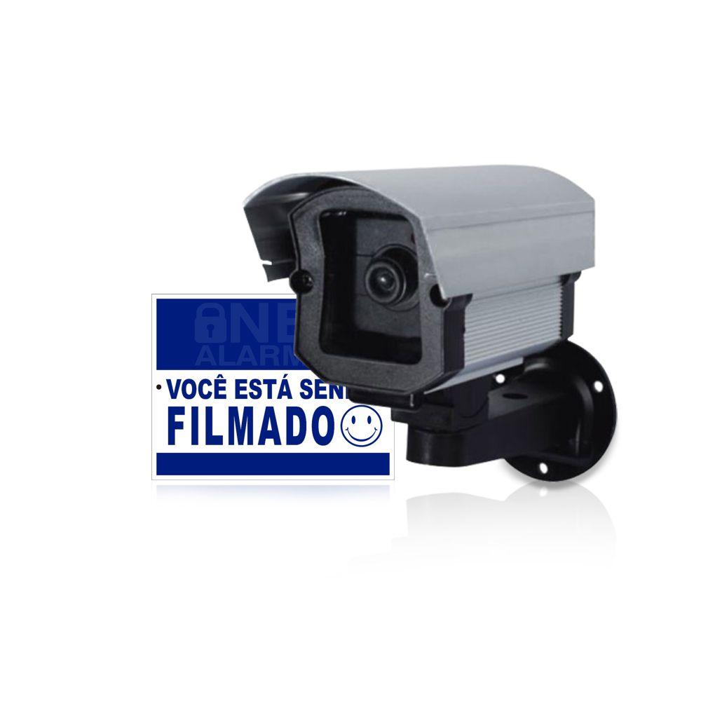 Câmera de Segurança Falsa Com Led + Placa de Advertência