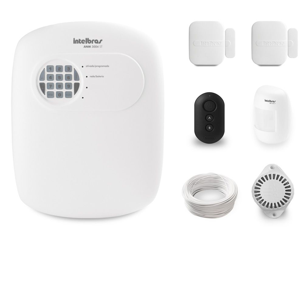 Kit Alarme Residencial Intelbras ANM 3004 ST Com 3 Sensores Sem Fio