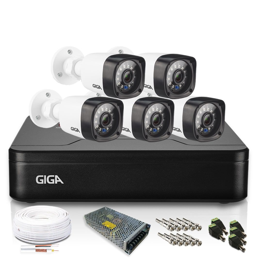 Kit Câmera de Segurança 5 infra Bullet 720p e DVR 8 Canais Giga