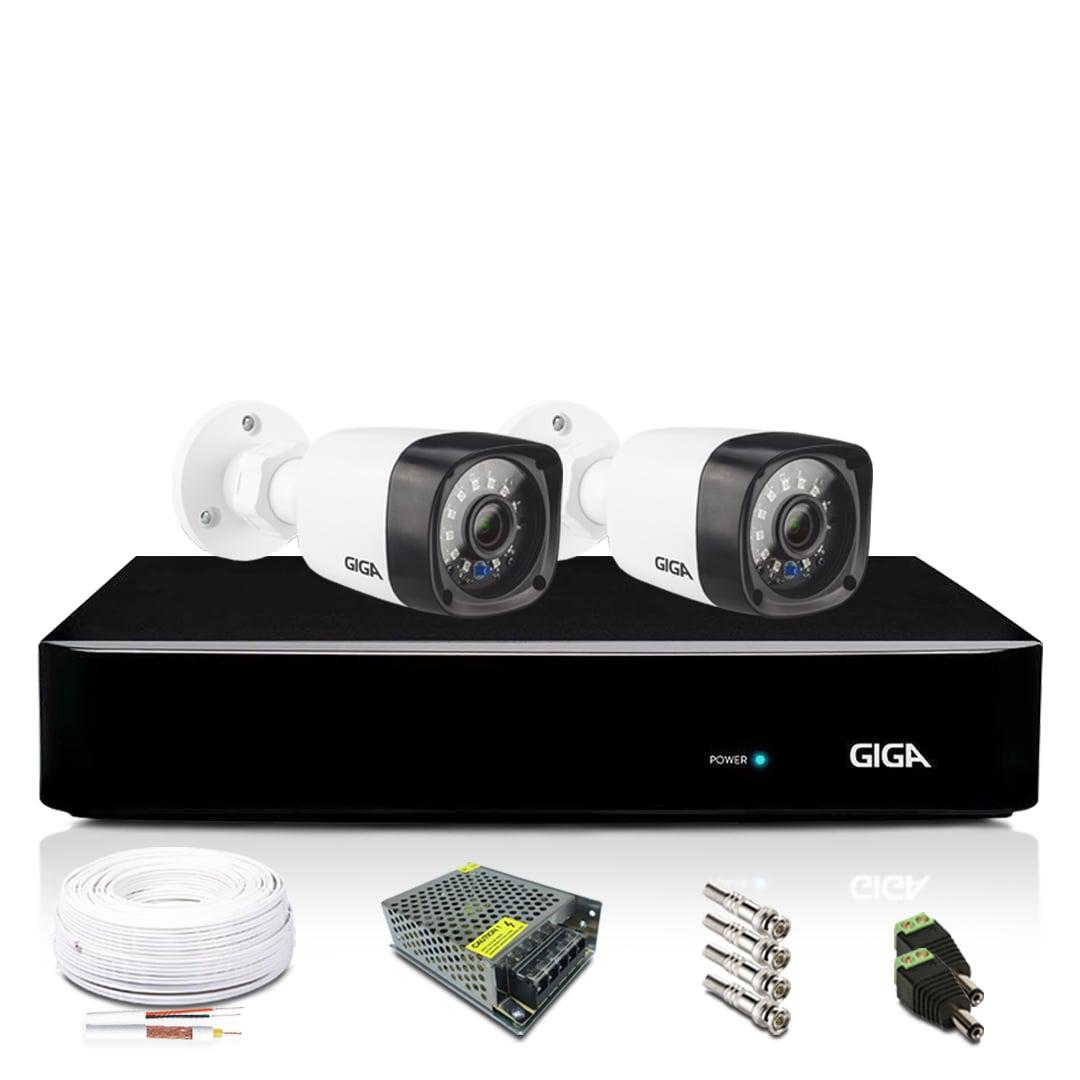 Kit Câmera de Segurança Giga Full HD 2 Câmeras Bullet 1080p HVR 4 Canais