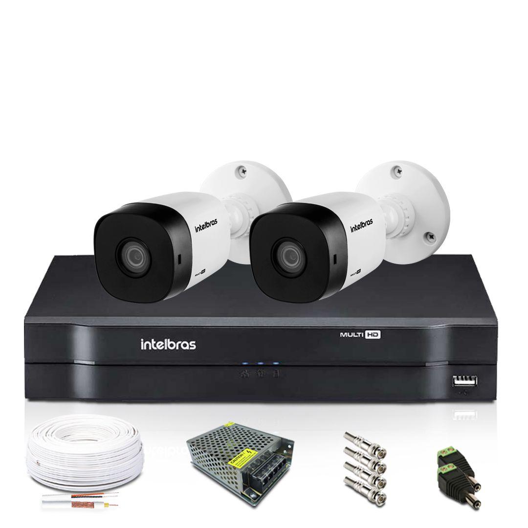 Kit Câmeras de Segurança Intelbras 2 Câmera Bullet DVR 4 Canais Mhdx1104