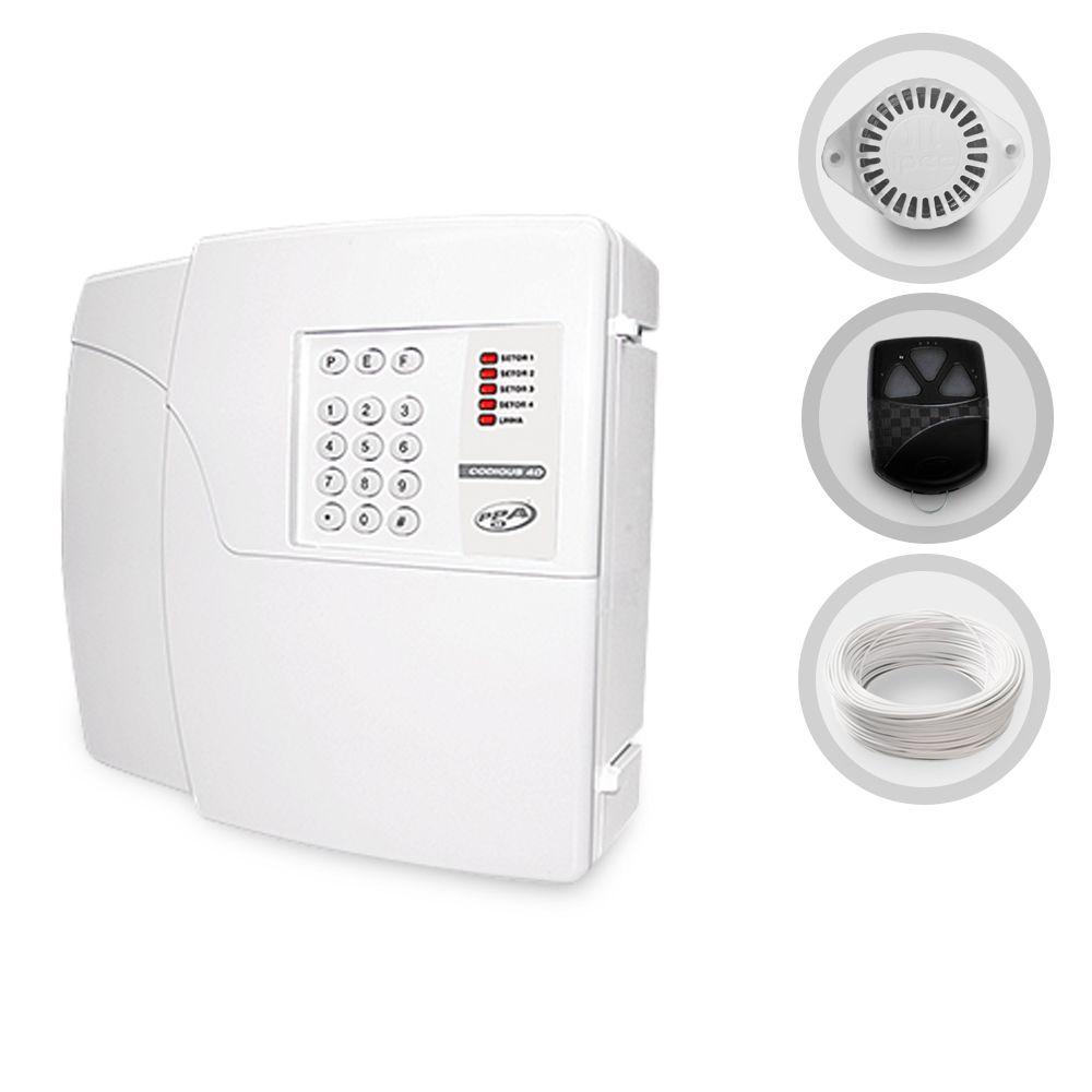 Kit Central de Alarme Residencial PPA + Sirene e Cabo (Sem Sensores)