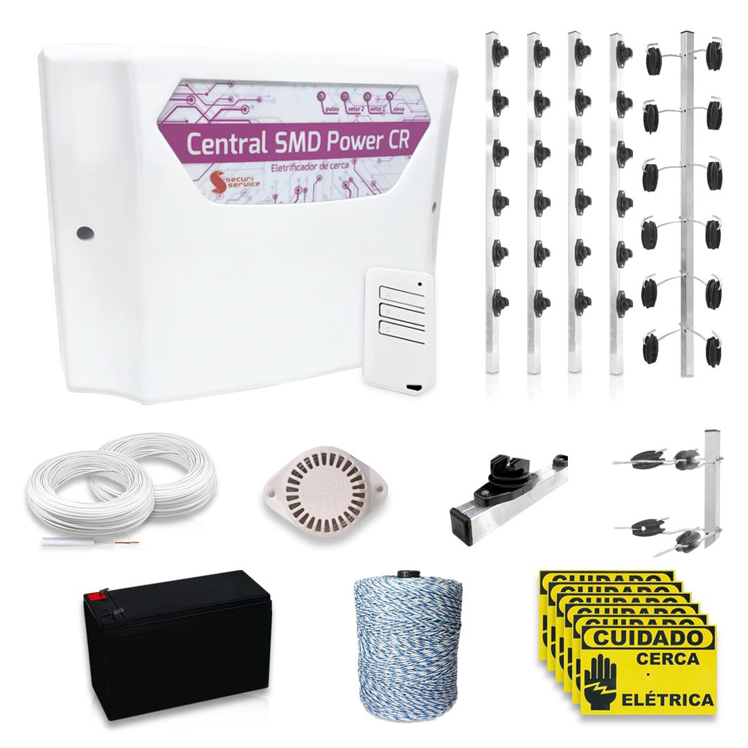 Kit Cerca Elétrica Industrial GCP Big Haste 6 Isoladores 80 Metros