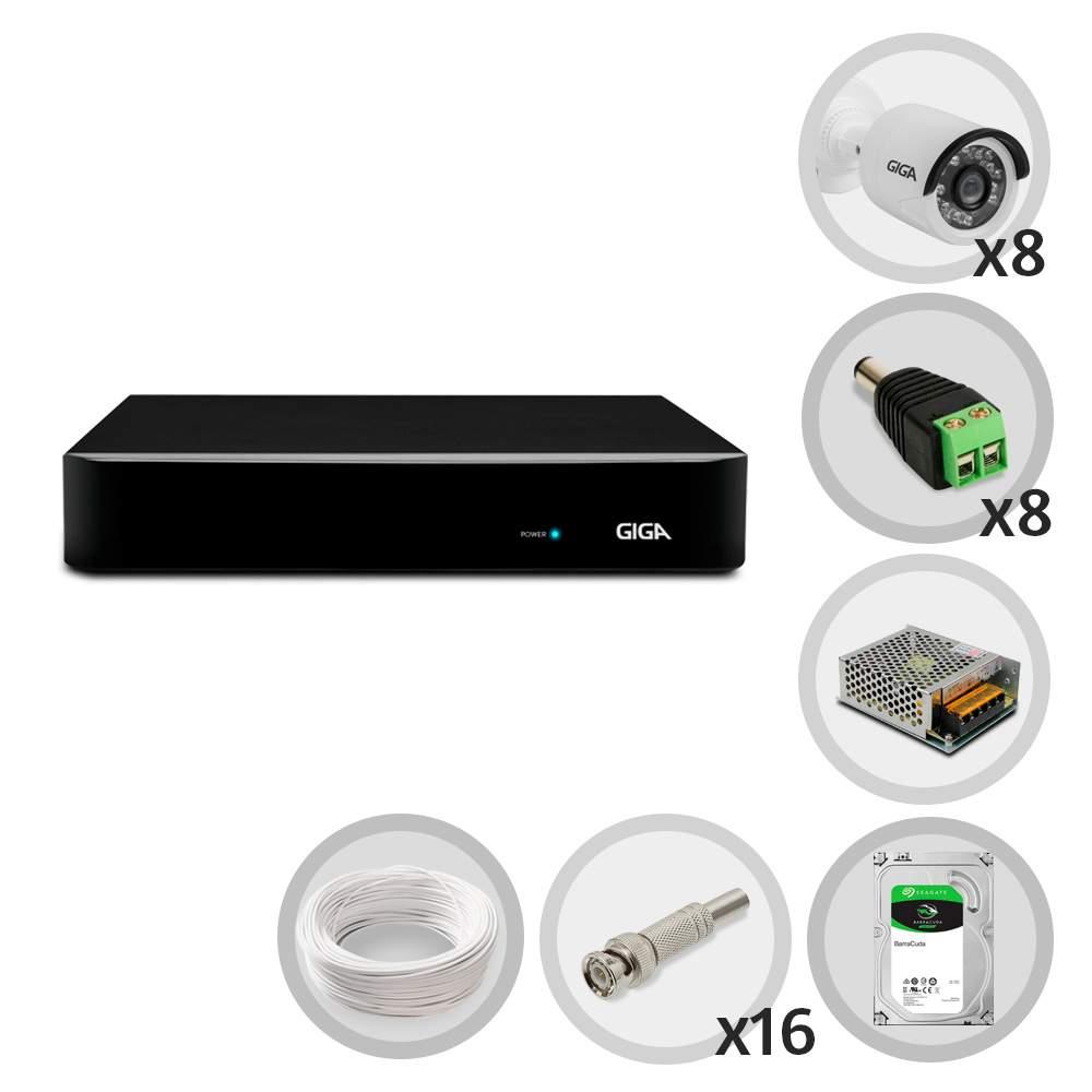 Kit CFTV Giga com 8 Câmeras Bullet 720p DVR 8 Canais Open HD