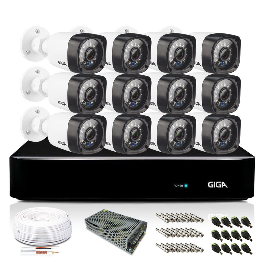 Kit CFTV Giga Full HD 12 Câmeras Bullet 1080p HVR 16 Canais