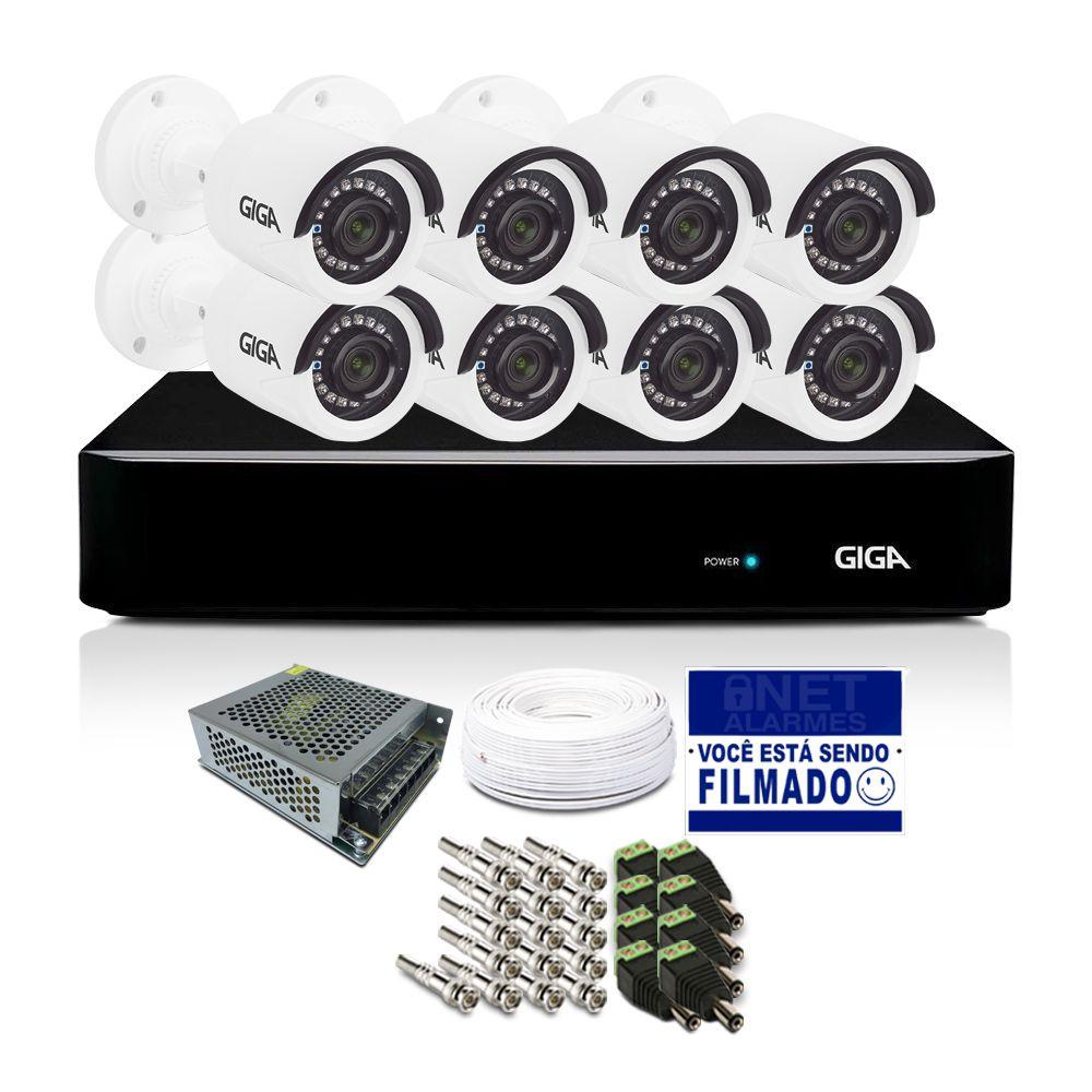 Kit CFTV Giga Orion com 8 Câmeras Bullet 720p DVR 8 Canais