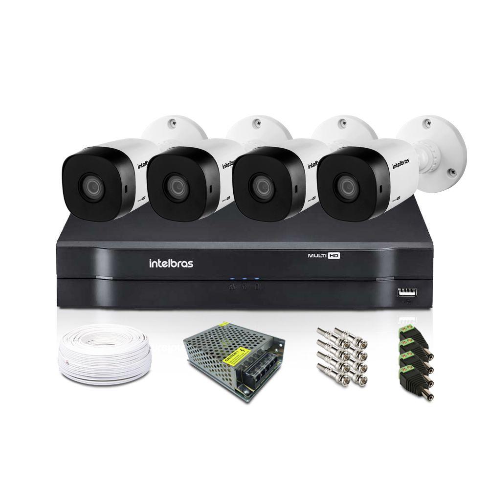 Kit CFTV Intelbras com 4 Câmeras Bullet 720p DVR 8 Canais