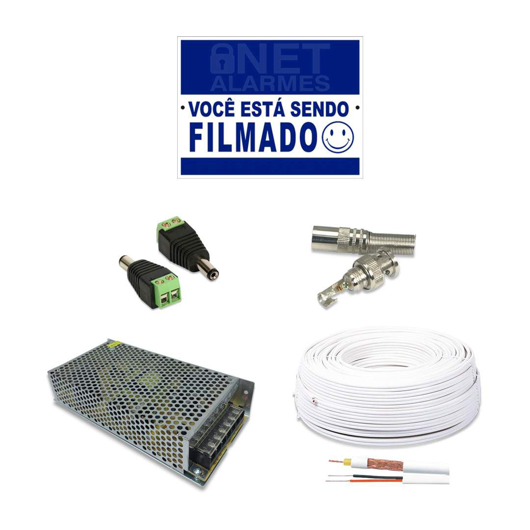Kit CFTV Intelbras Full HD 16 Câmera VHD 1220B DVR MHDX 3116