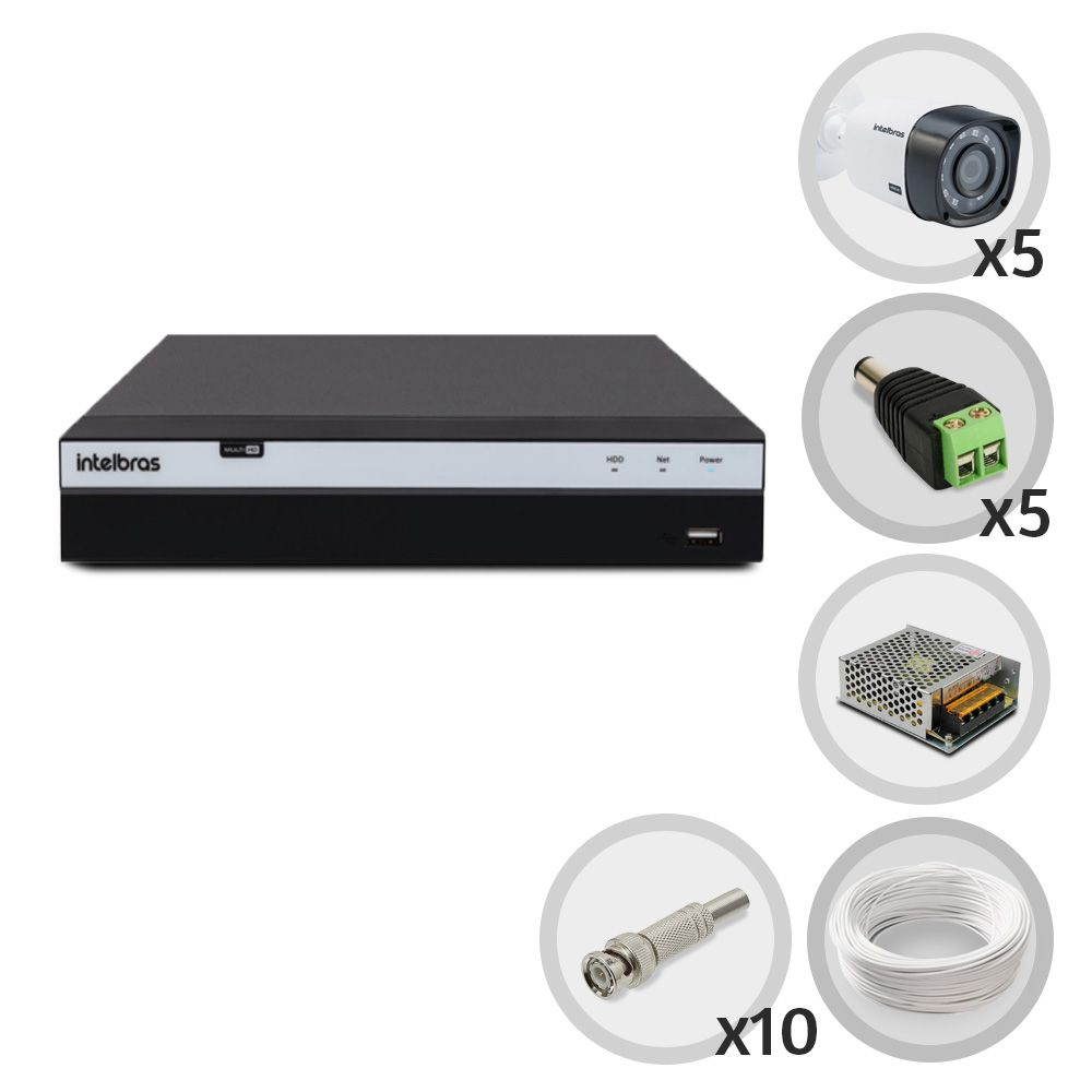 Kit CFTV Intelbras Full HD 5 Câmeras VHD 1220B DVR MHDX 3108