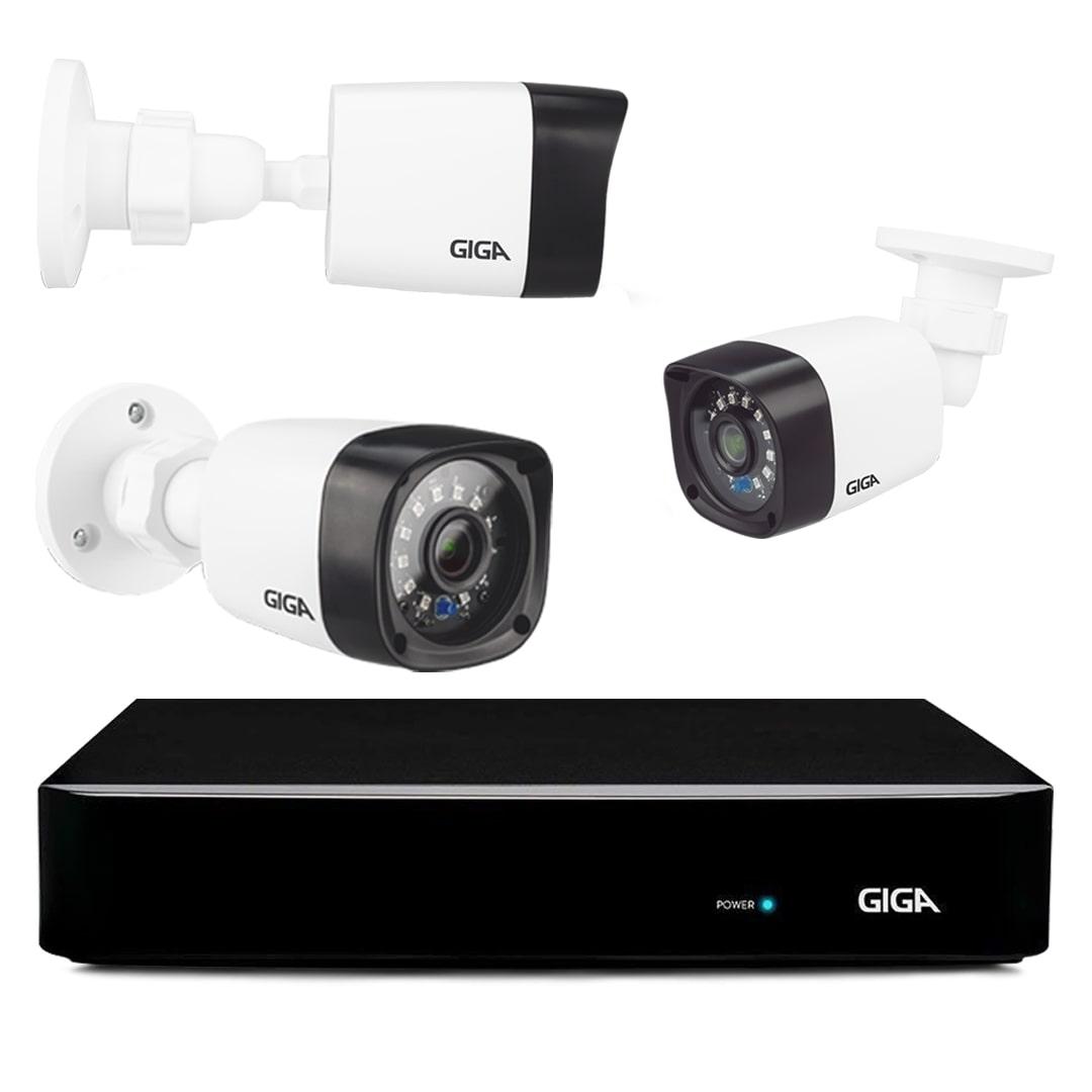 Kit com 4 Câmeras de Segurança Bullet 720P DVR 4 Canais Giga Orion