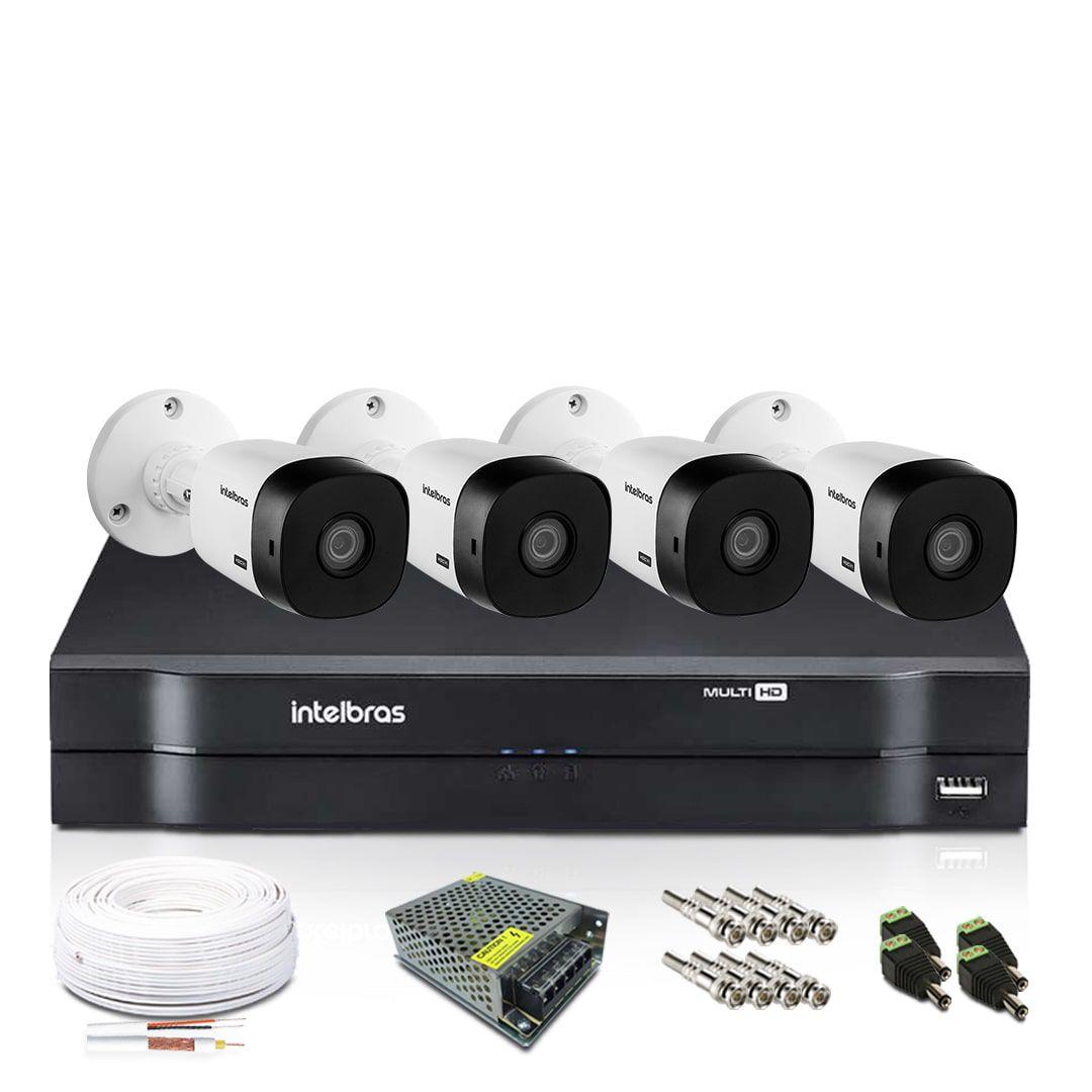 Kit Monitoramento Intelbras com 4 Câmeras de Segurança 720p