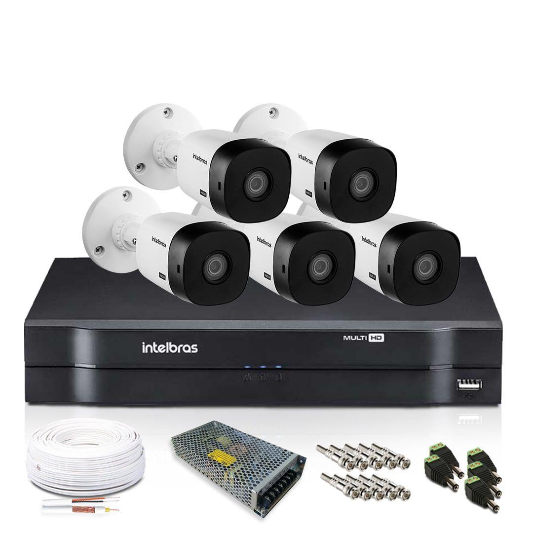 Kit Monitoramento Intelbras com 5 Câmeras de Segurança 1080p
