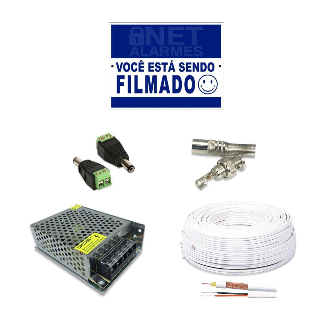 Kit Monitoramento Intelbras com 5 Câmeras de Segurança Dome 720p