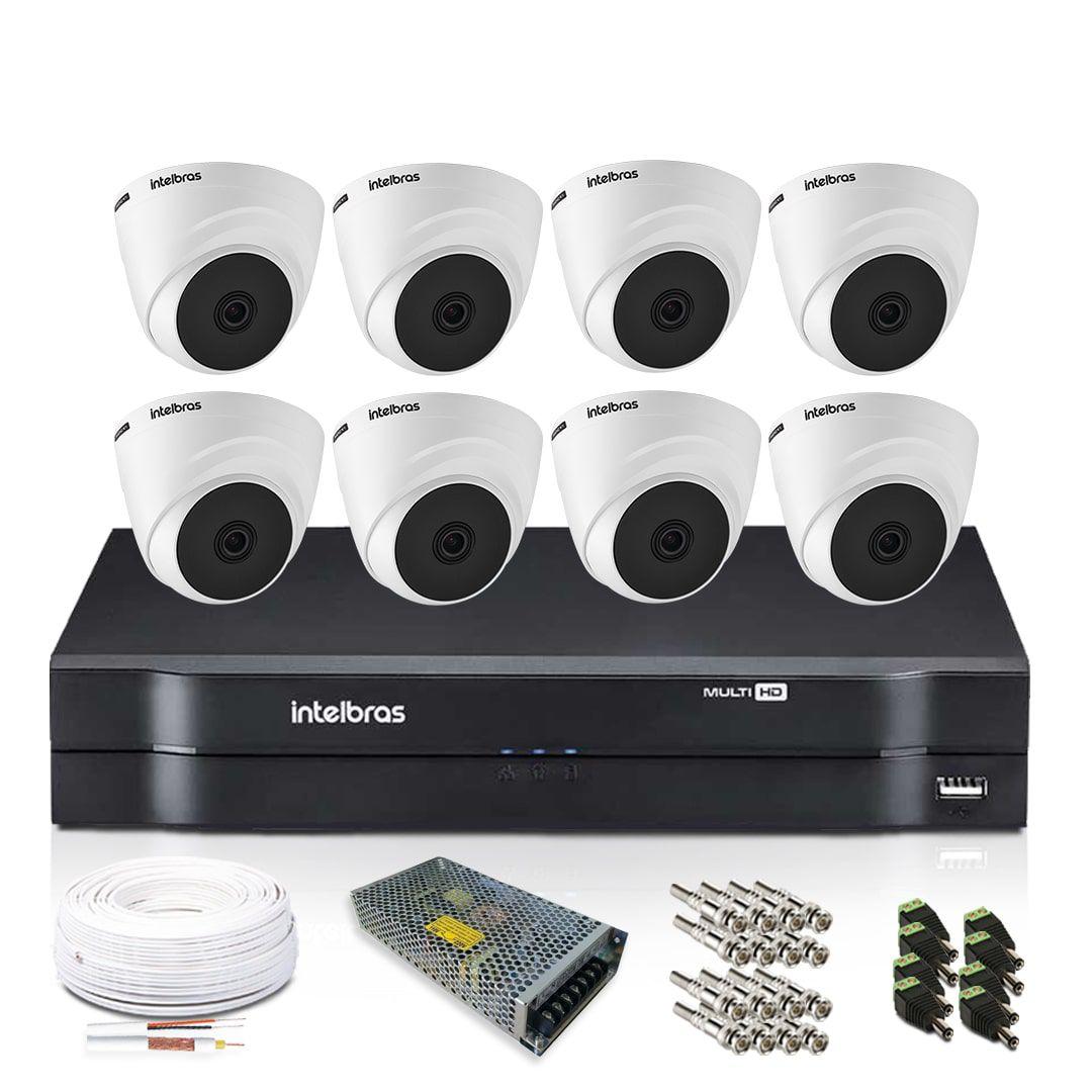 Kit Monitoramento Intelbras com 8 Câmeras de Segurança Dome 720p