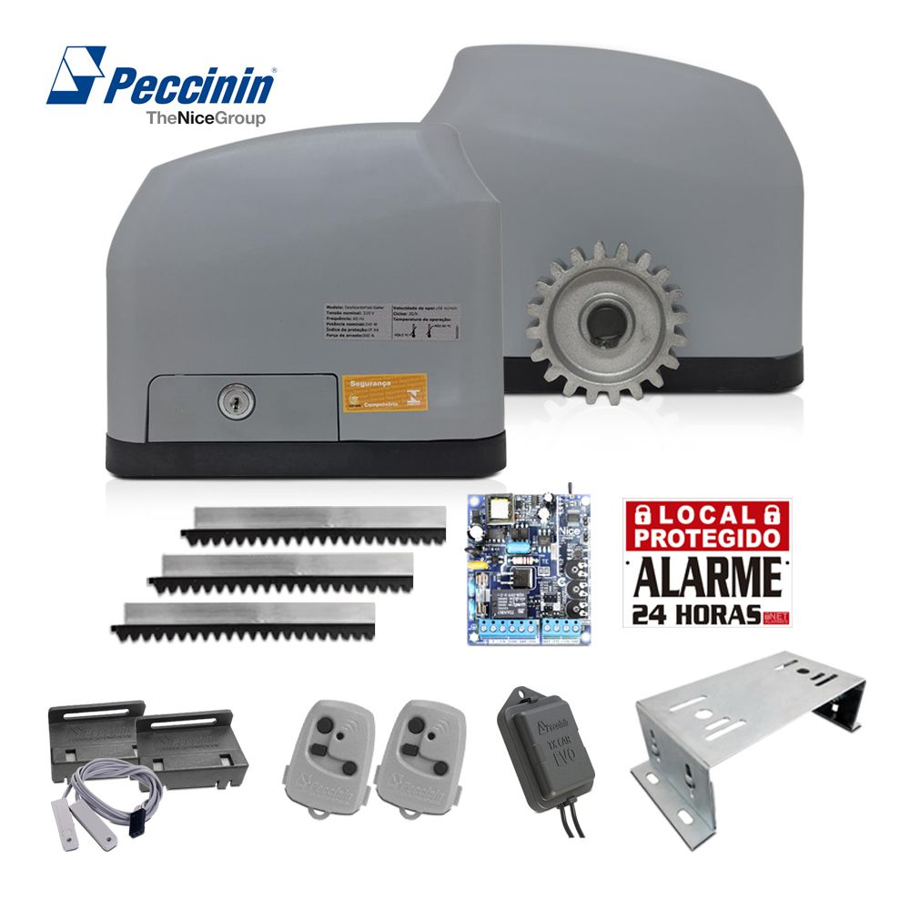 Kit Motor de Portão Deslizante Peccinin Fast Gatter Base Tx Car