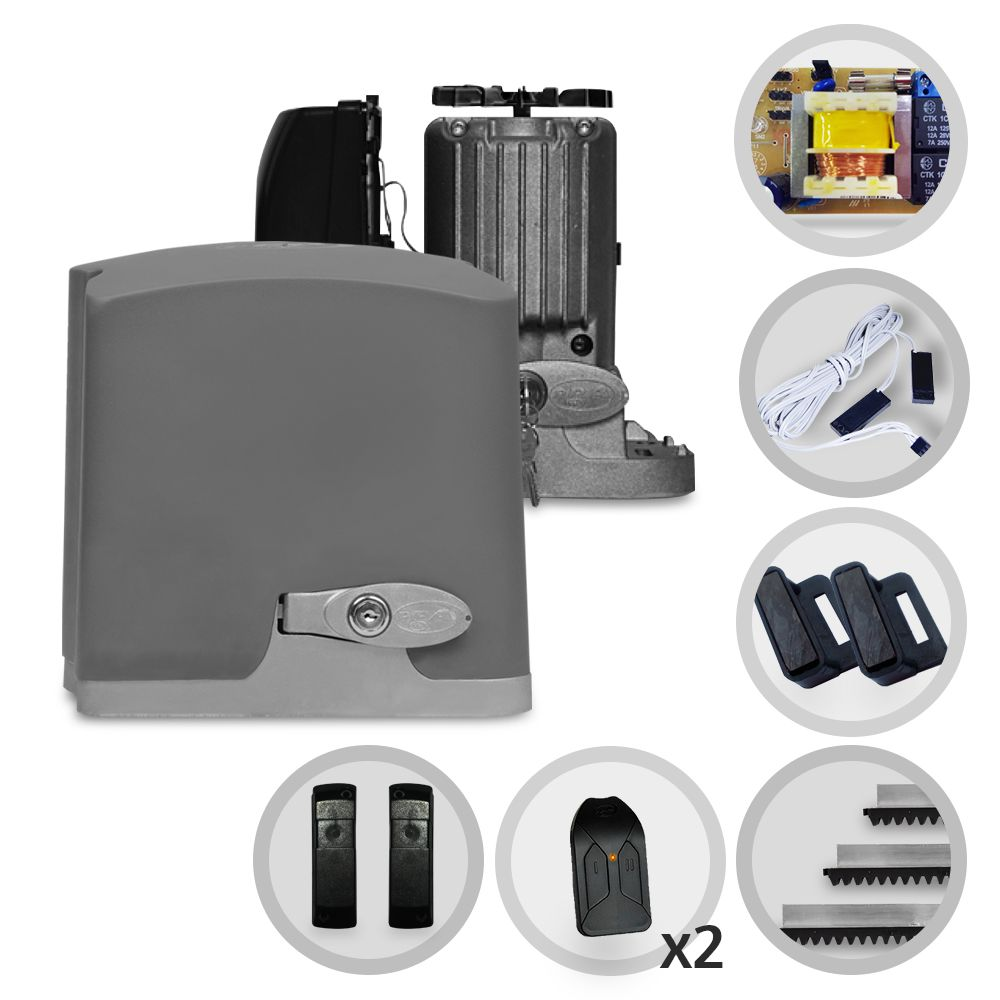 Kit Motor de Portão Deslizante PPA Dz Rio R400 1/4 HP + Sensor Anti-Esmagamento