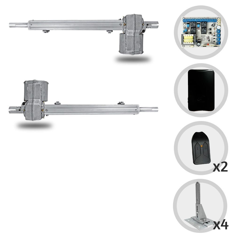 Kit Motor de Portão Pivotante PPA Piston Standard Central Dupla + Suportes