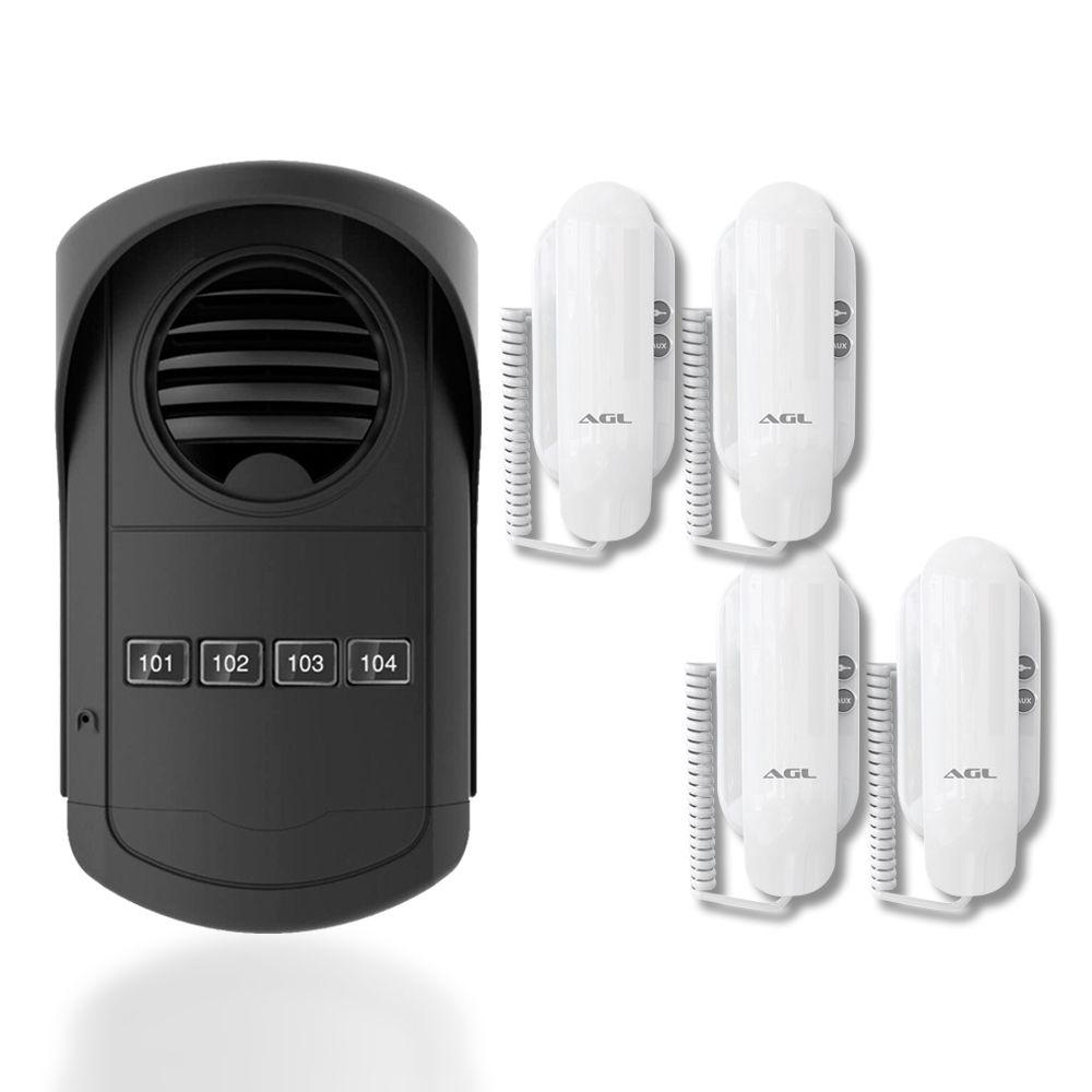 Kit Porteiro Eletrônico Coletivo AGL 4 Pontos S300 Com 4 Monofones