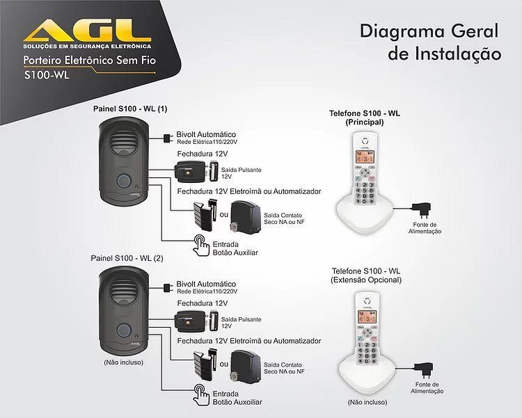 Porteiro Eletrônico Interfone sem fio AGL S100 - WL