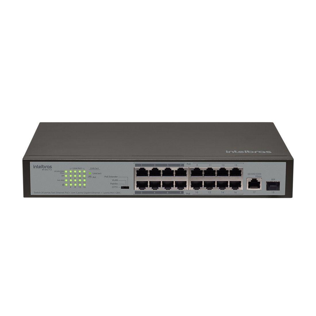 Switch Intelbras SF 1811 PoE 16P Fast PoE 1P Gigabit 1P SFP