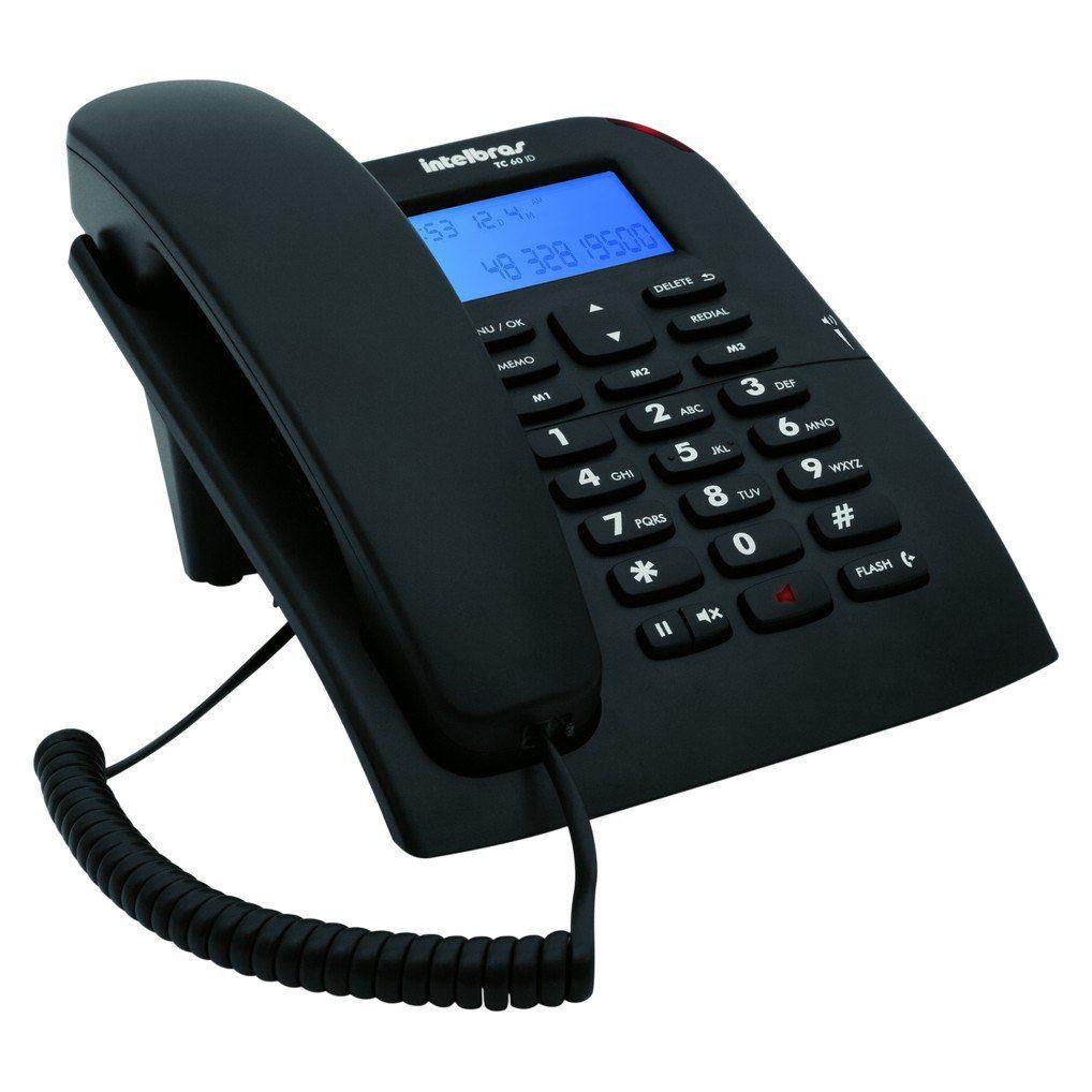 Telefone com Fio Intelbras TC 60 ID Identificação de Chamada