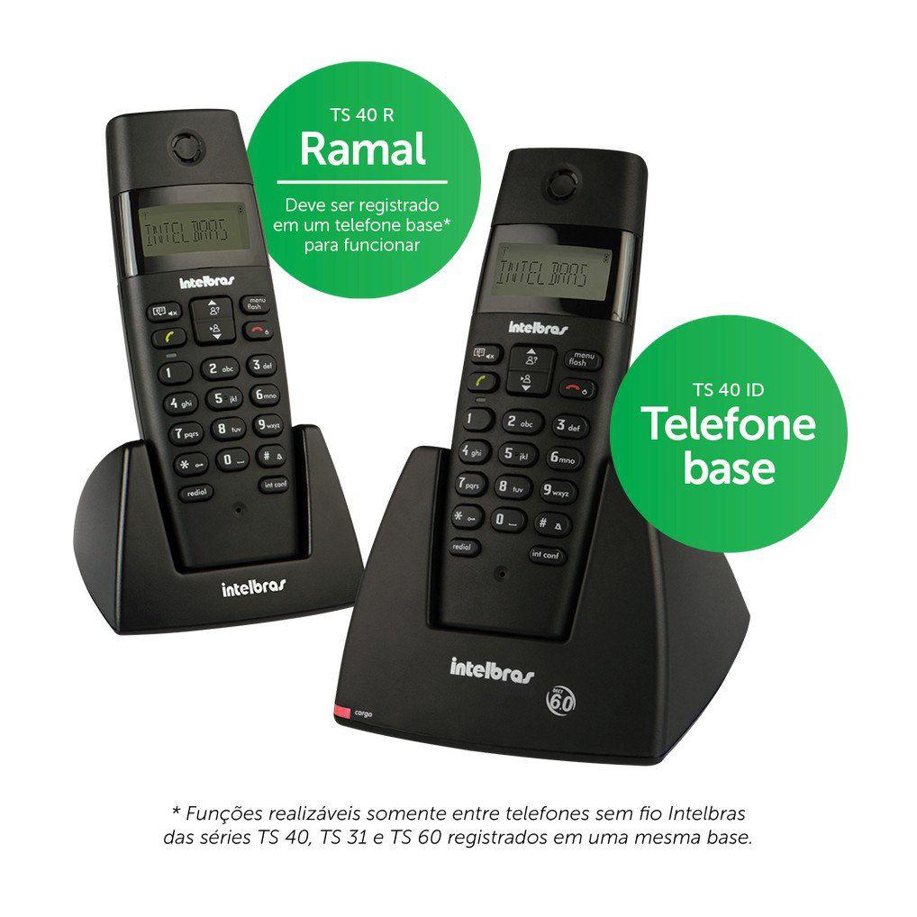 Telefone Sem Fio com Ramal Intelbras TS 40 C Digital