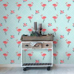 Papel de Parede Adesivo Flamingos Flower
