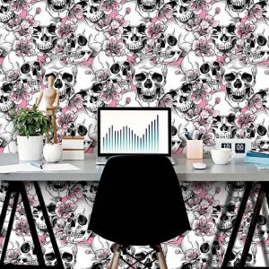 Papel de Parede Adesivo Skull With Pink Cherry