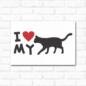 Placa Decorativa I Love My Cat2