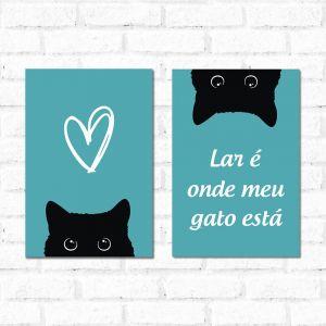 Placa Decorativa Kit Lar é Onde Meu Gato Está