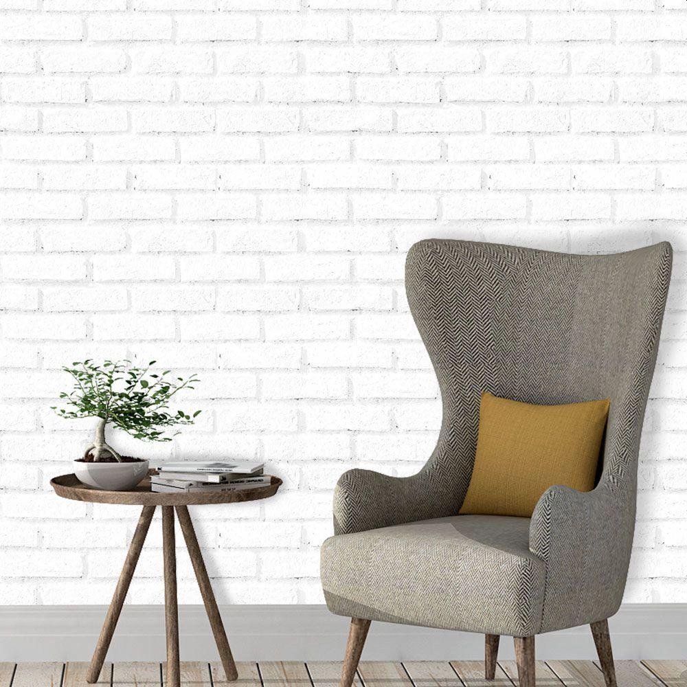 OUTLET - Papel de Parede Tijolos Brancos 50cm x 2,55m
