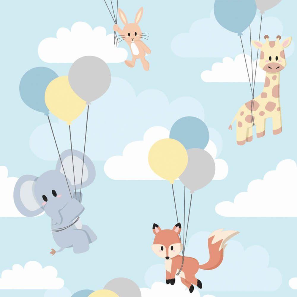 Papel de Parede Adesivo Animais Balões