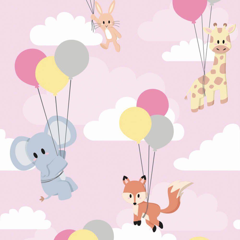 Papel de Parede Adesivo Animais Balões Girl