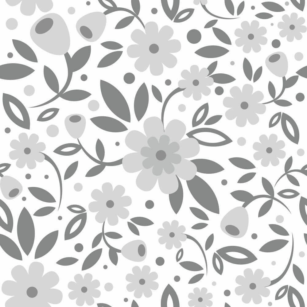 Papel de Parede Adesivo Big Flowers Gray