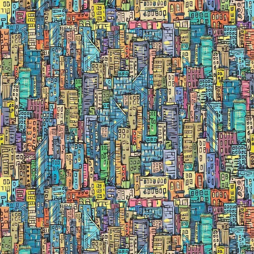 Papel de Parede Adesivo Cidade Colorida