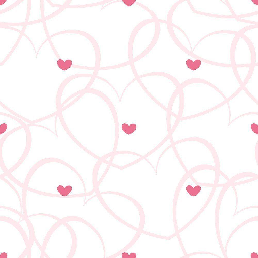 Papel de Parede Adesivo Corações Riscados