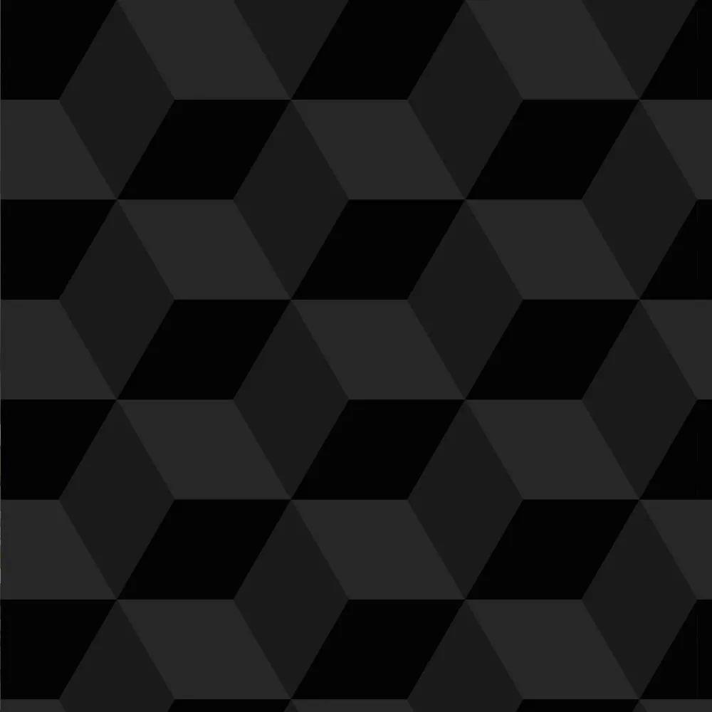 Papel de Parede Adesivo Cubos Preto 3D