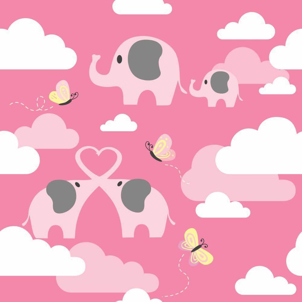 Papel de Parede Adesivo Elefantes nas Nuvens