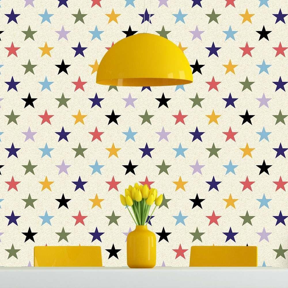 Papel de Parede Adesivo Estrelas Coloridas