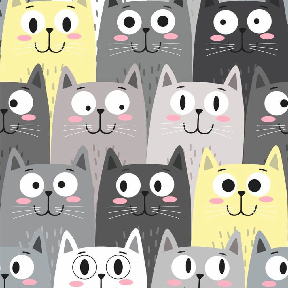 Papel de Parede Adesivo Faces Cats