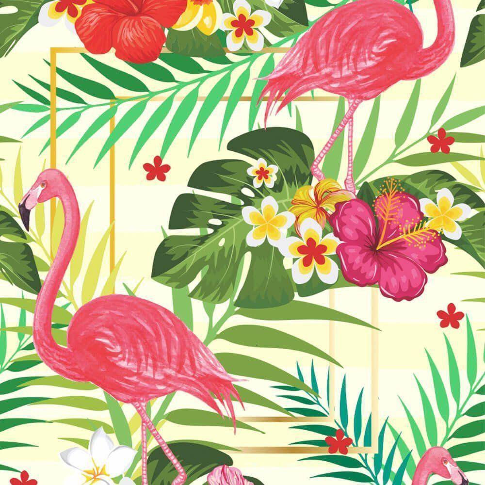 Papel de Parede Adesivo Flamingo