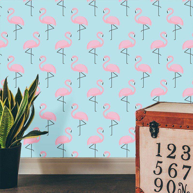 Papel de Parede Adesivo Flamingous