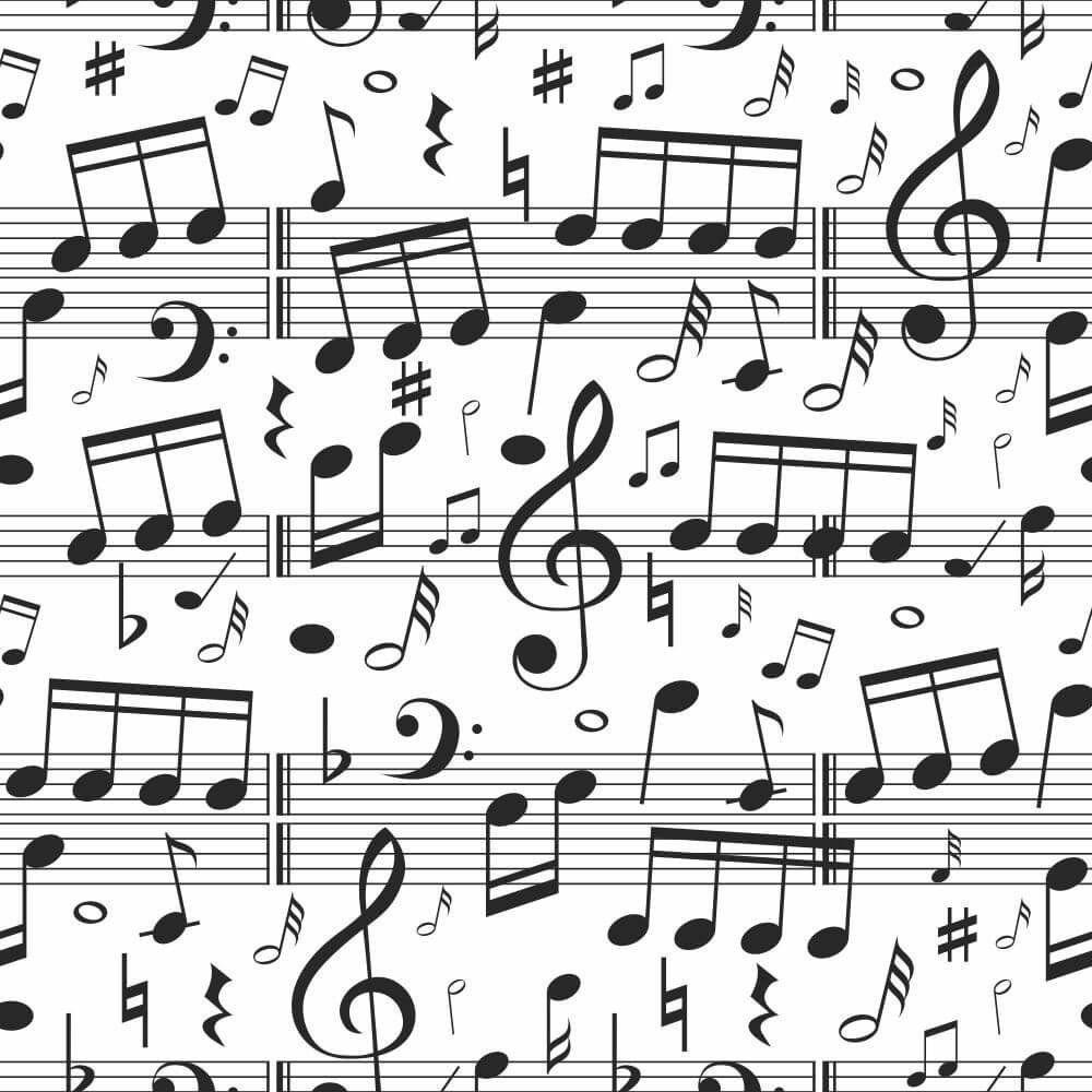 Papel de Parede Adesivo Notas Musicais P&B