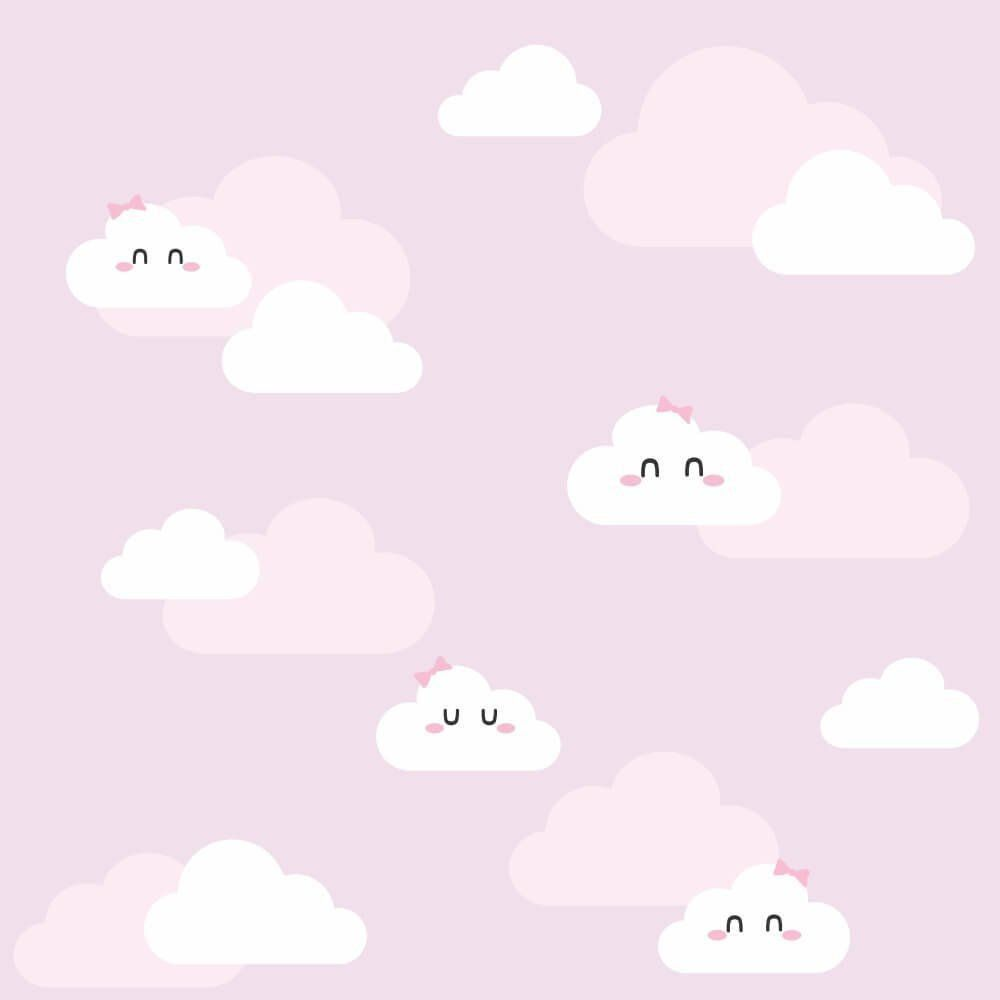 Papel de Parede Adesivo Nuvens Clean Girl