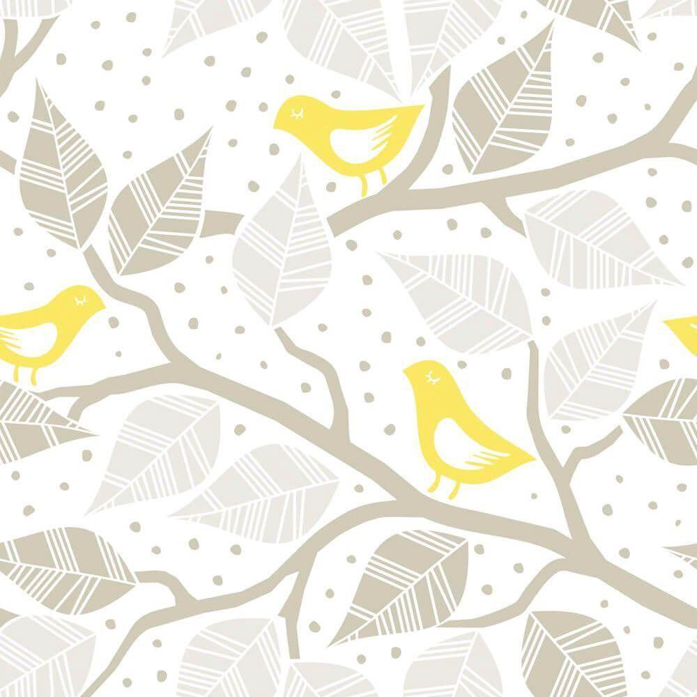 Papel de Parede Adesivo Yellow Birds