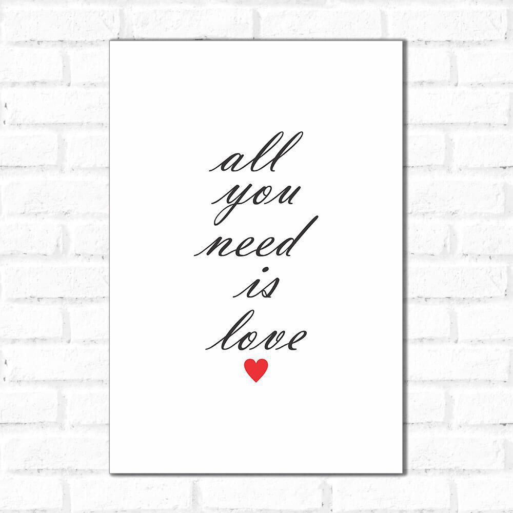 Placa Decorativa All You Need is Love