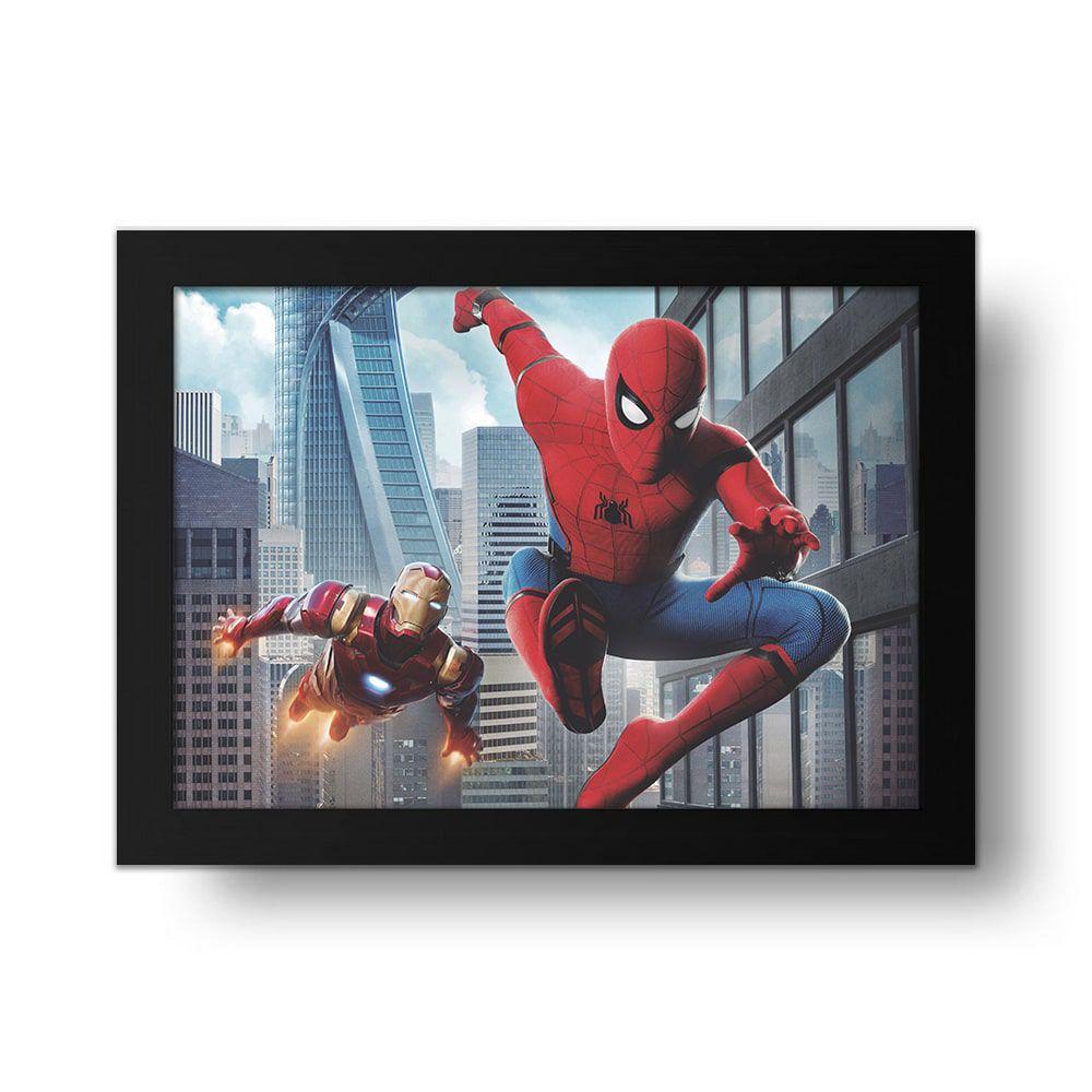 Placa Decorativa Homem de Ferro e Homem Aranha